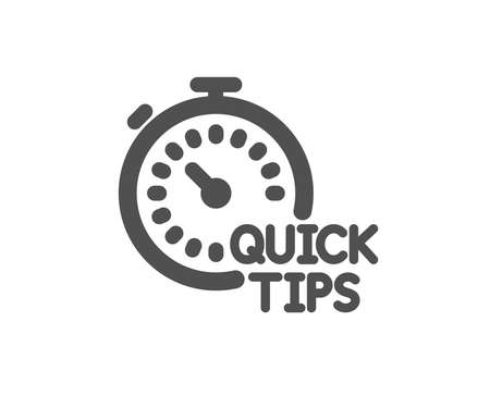 Quick tips icon. Helpful tricks sign. Tutorials with timer symbol. Quality design element. Classic style icon. Vector