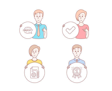 People hand drawn style. Set of Creativity, Documentation and Tick icons. Reward sign. Inspiration, Project, Confirm check. First place.  Character hold circle button. Man with like hand. Vector Illustration