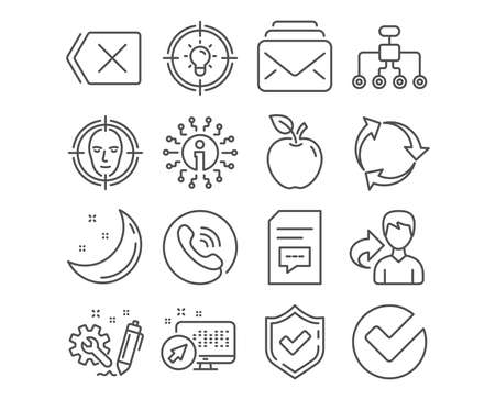 Set of Idea, Mail and Comments icons. Face detect, Restructuring and Remove signs. Recycle, Verify and Engineering symbols. Solution, New messages, Document with speech bubble. Vector