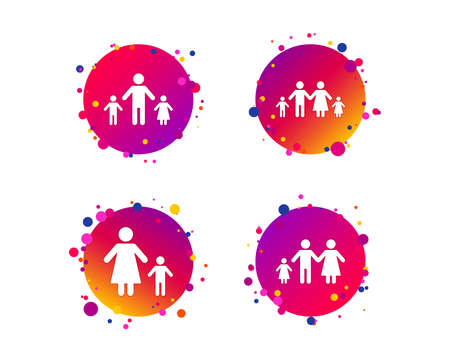 Family with two children icon. Parents and kids symbols. One-parent family signs. Mother and father divorce. Gradient circle buttons with icons. Random dots design. Vector