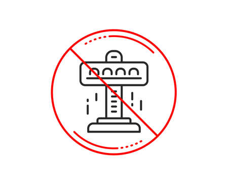 No or stop sign. Carousels line icon. Amusement attraction park sign. Caution prohibited ban stop symbol. No  icon design.  Vector Stock Vector - 115751040