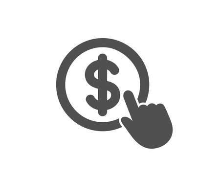 Hand Click icon. Currency exchange sign. Cursor pointer symbol. To pay or get money. Quality design element. Classic style icon. Vector