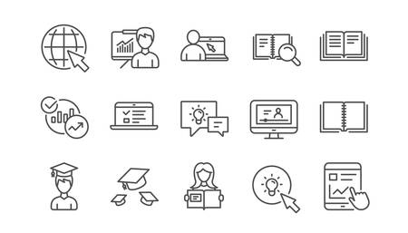 Education line icons. Book, Video tutorial and Instructions. Presentation linear icon set.  Vector Standard-Bild - 115751042