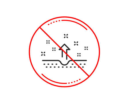 No or stop sign. Clean skin line icon. Body or Face care sign. Caution prohibited ban stop symbol. No  icon design.  Vector Illustration