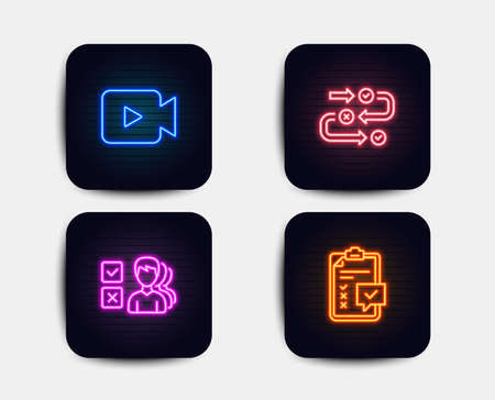 Neon set of Survey progress, Opinion and Video camera icons. Checklist sign. Algorithm, Choose answer, Movie or cinema. Survey. Neon icons. Glowing light banners. Vector Illustration