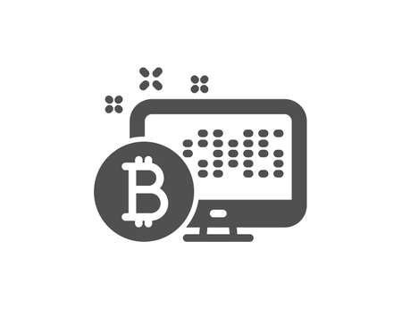 Bitcoin icon. Cryptocurrency monitor sign. Crypto money symbol. Quality design element. Classic style icon. Vector