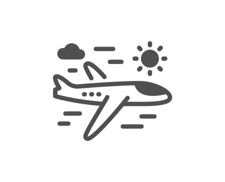 Airplane travel icon. Trip flight sign. Holidays symbol. Quality design element. Classic style icon. Vector