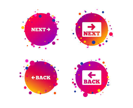 Back and next navigation signs. Arrow direction icons. Gradient circle buttons with icons. Random dots design. Vector 일러스트