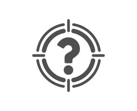 Doel met vraagtekenpictogram. Richt symbool. Help of FAQ teken. Kwaliteitsontwerpelement. Klassieke stijlicoon. Vector