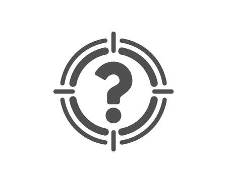 Target with Question mark icon. Aim symbol. Help or FAQ sign. Quality design element. Classic style icon. Vector
