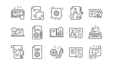 Icone della riga di documentazione tecnica. Istruzioni, piano e manuale. Insieme dell'icona lineare di algoritmo. Vettore