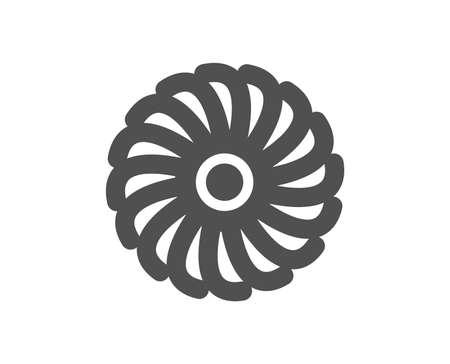 Icona del motore del ventilatore. Segno della turbina a getto. Simbolo del ventilatore. Elemento di design di qualità. Icona di stile classico. Vettore