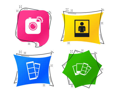 Hipster photo camera icon. Flash light symbol. Photo booth strips sign. Human portrait photo frame. Geometric colorful tags. Banners with flat icons. Trendy design. Vector