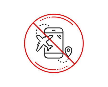 No or stop sign. Airplane travel line icon. Trip flight destination sign. Holidays symbol. Caution prohibited ban stop symbol. No  icon design.  Vector