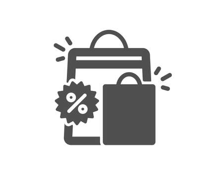 Discount icon. Sale shopping bags sign. Clearance symbol. Quality design element. Classic style icon. Vector Illustration