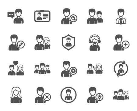 User people icons. Male and Female Profile, Group and Support icons. ID card, Teamwork people and Businessman symbols. Couple love, Security profile and User management support. Quality design element Illustration