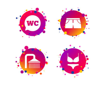 Swimming pool icons. Shower water drops and swimwear symbols. WC Toilet speech bubble sign. Trunks and women underwear. Gradient circle buttons with icons. Random dots design. Vector