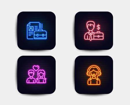 Neon glow lights. Set of Businessman case, Vacancy and Couple love icons. Support sign. Human resources, Hiring job, People in love. Call center.  Neon icons. Glowing light banners. Vector
