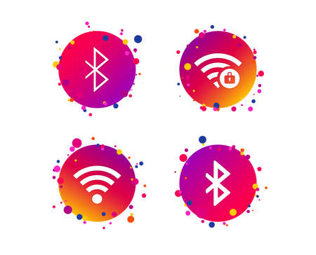 Wifi and Bluetooth icons. Wireless mobile network symbols. Password protected Wi-fi zone. Data transfer sign. Gradient circle buttons with icons. Random dots design. Vector