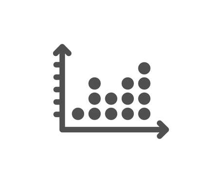 Dot plot graph icon. Presentation chart sign. Market analytics symbol. Quality design element. Classic style icon. Vector