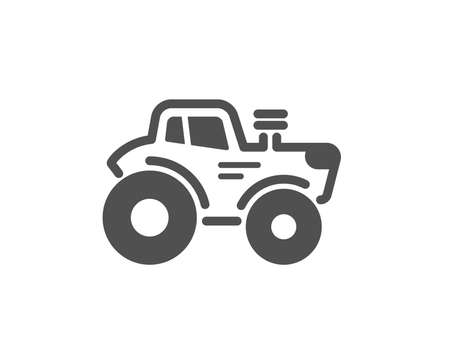 Tractor transport icon. Agriculture farm vehicle sign. Quality design element. Classic style icon. Vector