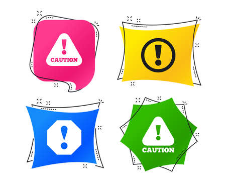 Attention caution icons. Hazard warning symbols. Exclamation sign. Geometric colorful tags. Banners with flat icons. Trendy design. Vector Ilustrace