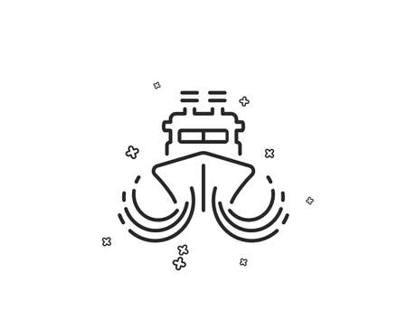 Ship in waves line icon. Watercraft transport sign. Shipping symbol. Geometric shapes. Random cross elements. Linear Ship icon design. Vector Standard-Bild - 125932017