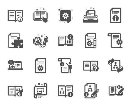 Symbole für technische Dokumente. Satz von Anweisungs-, Plan- und Handbuchsymbolen. Hilfedokument, Gebäudeplan und Algorithmussymbole. Technischer Entwurf, Ingenieuranleitung, Arbeitsgerät, Gebäude. Vektor Vektorgrafik
