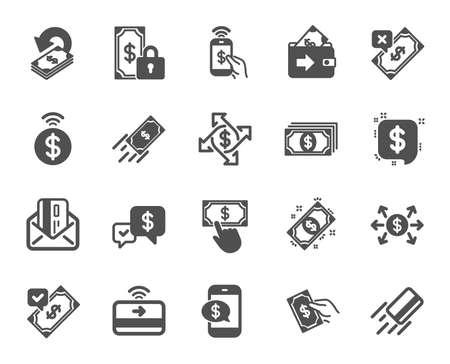 Zahlungs-Wallet-Symbole. Set von Geldüberweisung akzeptieren, mit Telefon und Kreditkarte per E-Mail bezahlen. Online-Zahlung, Dollar-Umtausch und schnelles Geld senden. Private Bezahlung, Bargeld und Geldbörse. Vektor