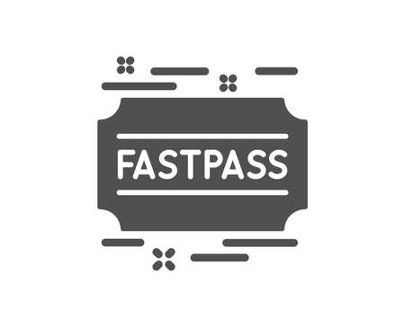 Fastpass icon. Amusement park ticket sign. Fast track symbol. Quality design element. Classic style icon. Vector
