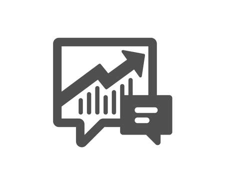 Chart icon. Report graph or Sales growth sign in speech bubble. Analysis and Statistics data symbol. Quality design element. Classic style icon. Vector  イラスト・ベクター素材