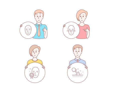 People hand drawn style. Set of Face biometrics, Face recognition and Skin moisture icons. Facial recognition, Faces biometrics, Access granted. Wet cream.  Character hold circle button. Vector Illustration