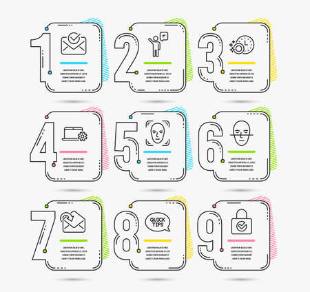 Infographic template with numbers 9 options. Set of Face detection, Agent and Face recognition icons. Approved mail, Notebook service and Receive mail signs. Vector Ilustração
