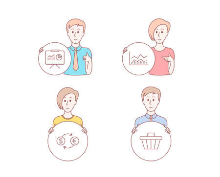 People hand drawn style. Set of Trade infochart, Currency exchange and Presentation icons. Shop cart sign. Business analysis, Banking finance, Board with charts. Web buying. Vector