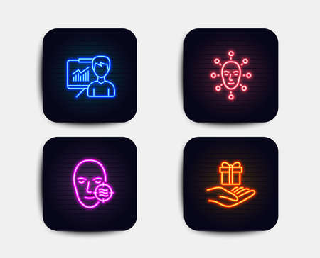 Neon glow lights. Set of Presentation, Problem skin and Face biometrics icons. Loyalty program sign. Education board, Facial care, Facial recognition. Gift.  Neon icons. Glowing light banners. Vector