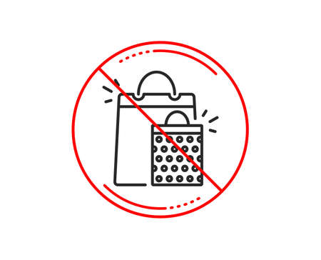 No or stop sign. Shopping bags line icon. Sale Marketing symbol. Special offer sign. Caution prohibited ban stop symbol. No  icon design.  Vector Illustration