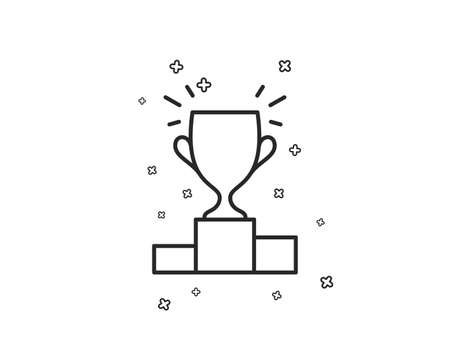 Winner podium line icon. Sports Trophy symbol. Championship achievement sign. Geometric shapes. Random cross elements. Linear Winner podium icon design. Vector