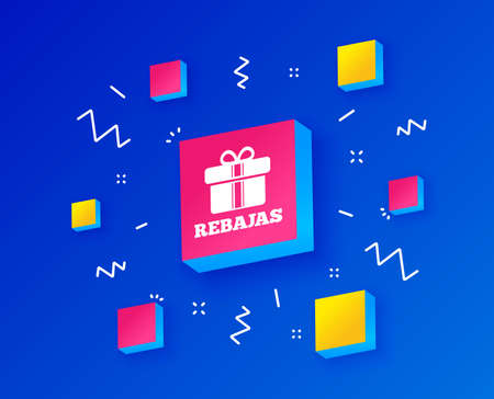 Rebajas - Discounts in Spain sign icon. Gift box with ribbons symbol. Isometric cubes with geometric shapes. Creative shopping banners. Template for design. Vector