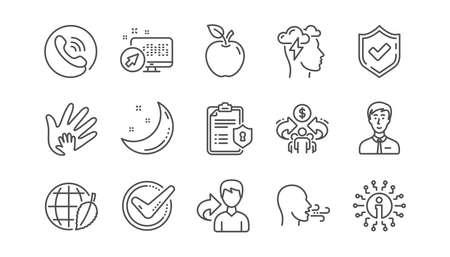 Marca de verificación, economía compartida y los iconos de línea de estrés de Mindfulness. Política de privacidad, Responsabilidad social. Conjunto de iconos lineal. Vector Ilustración de vector