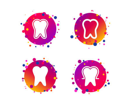 Tooth enamel protection icons. Dental toothpaste care signs. Healthy teeth sign. Gradient circle buttons with icons. Random dots design. Vector