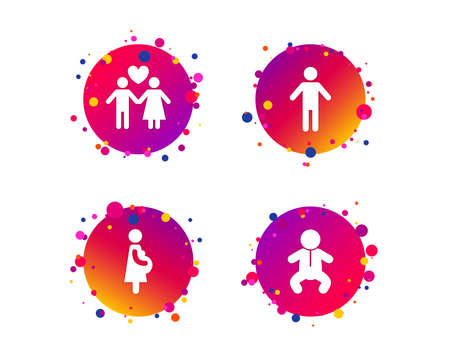 Family lifetime icons. Couple love, pregnancy and birth of a child symbols. Human male person sign. Gradient circle buttons with icons. Random dots design. Vector Illustration