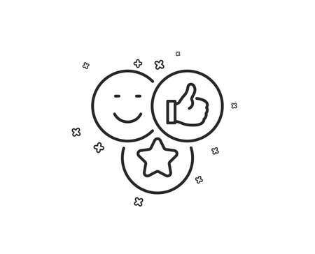 Social media likes line icon. Thumbs up sign. Positive smile feedback symbol. Geometric shapes. Random cross elements. Linear Like icon design. Vector Foto de archivo - 125603995