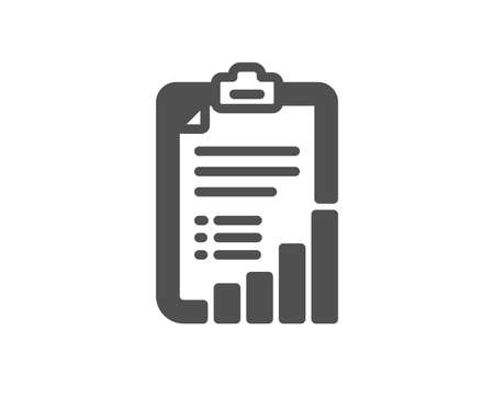 Checklist icon. Graph chart sign. Growth diagram symbol. Quality design element. Classic style icon. Vector 일러스트