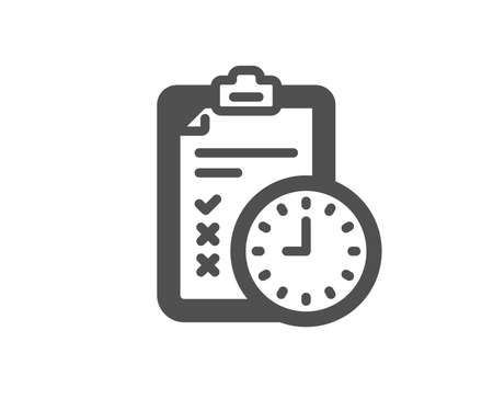 Exam time icon. Checklist sign. Quality design element. Classic style icon. Vector