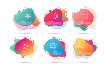 Dynamic liquid shapes. Set of Presentation, Typewriter and Report icons. Mail sign. Board with charts, Writer machine, Work statistics. New messages.  Gradient banners. Fluid abstract shapes. Vector