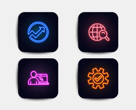 Neon glow lights. Set of Internet search, Audit and Online education icons. Service sign. Web finder, Arrow graph, Internet lectures. Cogwheel gear.  Neon icons. Glowing light banners. Vector