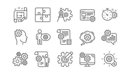 Engineering lijn pictogrammen. Puzzel, verdelers-tool en architectenplan. Ingenieur lineaire pictogramserie. Vector