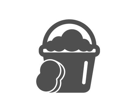 Cleaning bucket with sponge icon. Washing Housekeeping equipment sign. Quality design element. Classic style icon. Vector