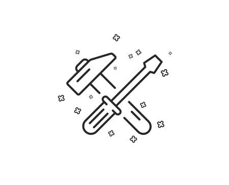 Hammer and screwdriver line icon. Repair service sign. Fix instruments symbol. Geometric shapes. Random cross elements. Linear Hammer tool icon design. Vector