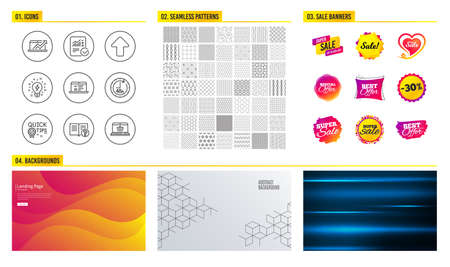 Seamless pattern. Shopping mall banners. Set of 48 hours, Inspiration and Upload icons. Web lectures, Sales diagram and Help signs. Checked calculation, Quick tips and Online shopping symbols. Vector